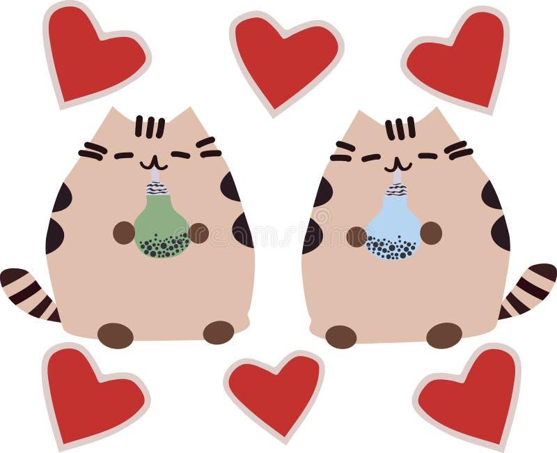 Śliczny imbirowy kot: łasowania jedzenie, posiłek, żuć, głodna emocja, mienia ciastko ilustracji
