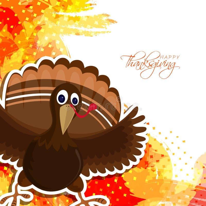 Śliczny Indyczy ptak dla Szczęśliwego dziękczynienie dnia ilustracja wektor