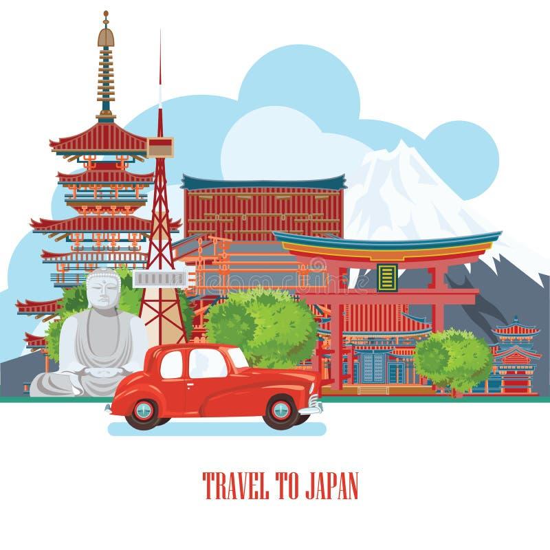Śliczny Japonia podróży plakat - podróżuje Japonia ilustracja wektor