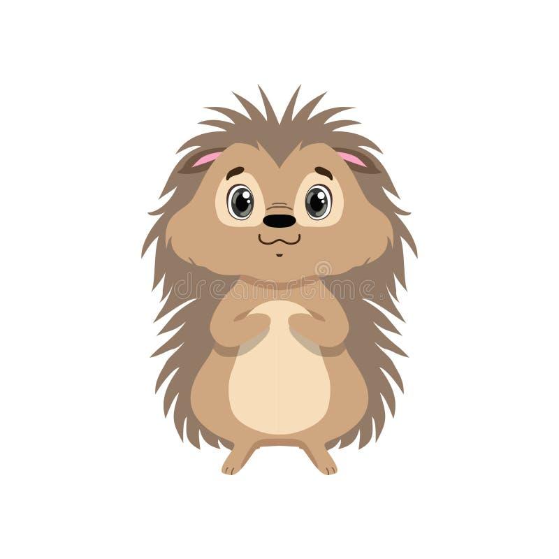 Śliczny jeż, urocza zwierzęca postać z kreskówki frontowego widoku wektoru ilustracja royalty ilustracja