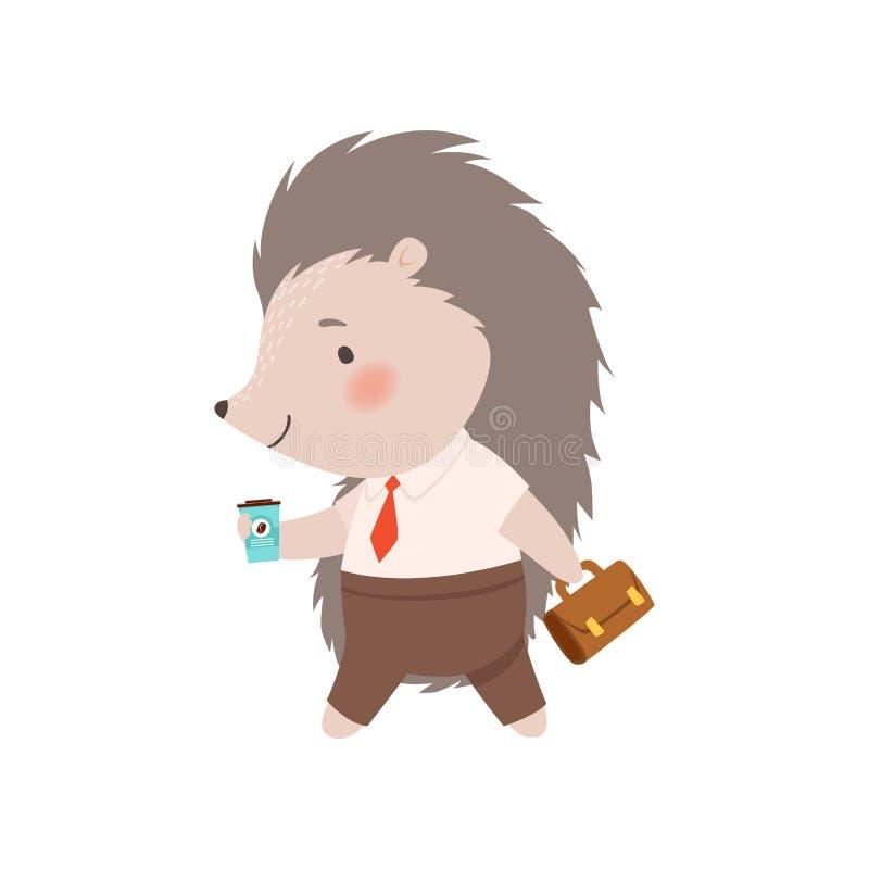 Śliczny jeża biznesmena odprowadzenie z teczką i filiżanka kawy, Uroczy Kłujący Zwierzęcy postać z kreskówki wektor royalty ilustracja
