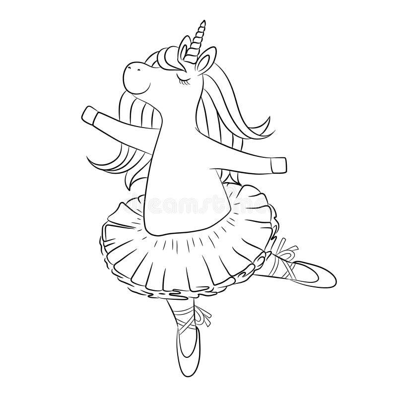 Śliczny jednorożec baleriny taniec, konturu rysunek ilustracji