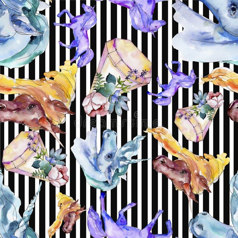 Śliczny jednorożec koń Bajek dzieci słodki sen Akwareli tła ilustracji set Bezszwowy tło wzór zdjęcie royalty free