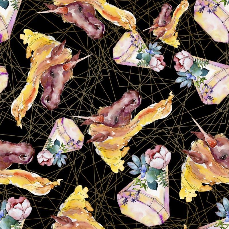 Śliczny jednorożec koń Bajek dzieci słodki sen Akwareli tła ilustracji set Bezszwowy tło wzór obraz stock