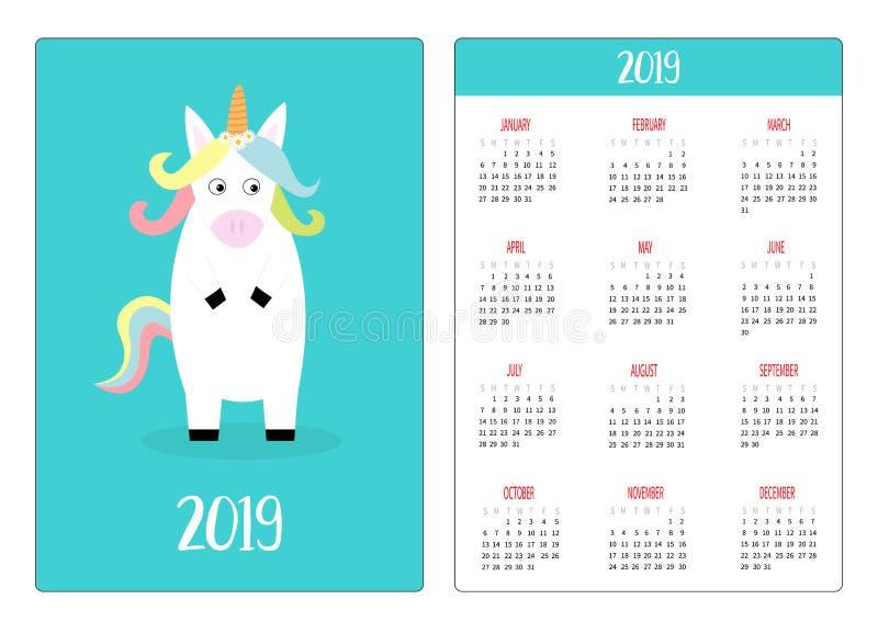 Śliczny jednorożec zwierzę Prosty kieszeniowy kalendarzowy układ 2019 nowy rok Tydzień Zaczyna Niedziela Pionowo orientacja Kresk royalty ilustracja
