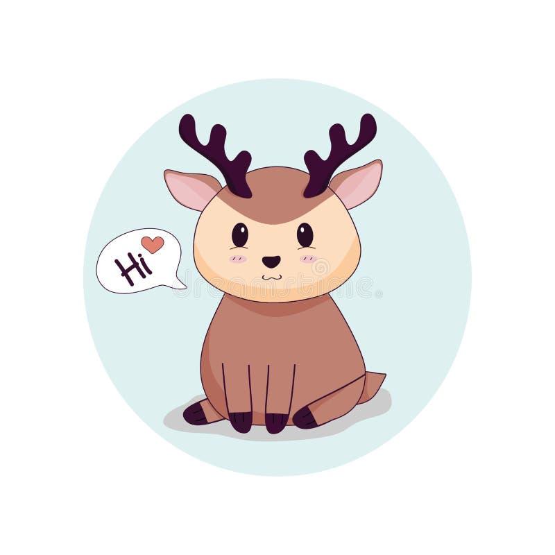 Śliczny jeleni graficzny mówi z miłością cześć ilustracji