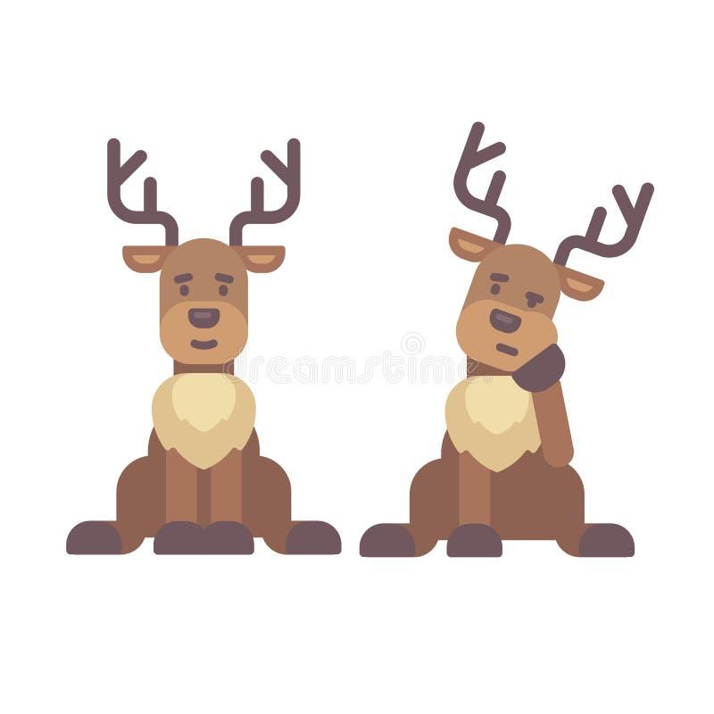 Śliczny jeleni siedzący puszek Bożenarodzeniowa charakteru mieszkania ilustracja ilustracja wektor