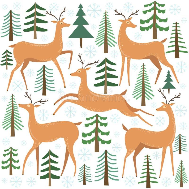 Śliczny jeleni wektoru set Renifer z drzewem Zima lasu ilustracja ilustracji
