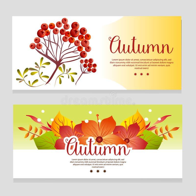 Śliczny jesień tematu sztandar z spadek rośliną ilustracja wektor