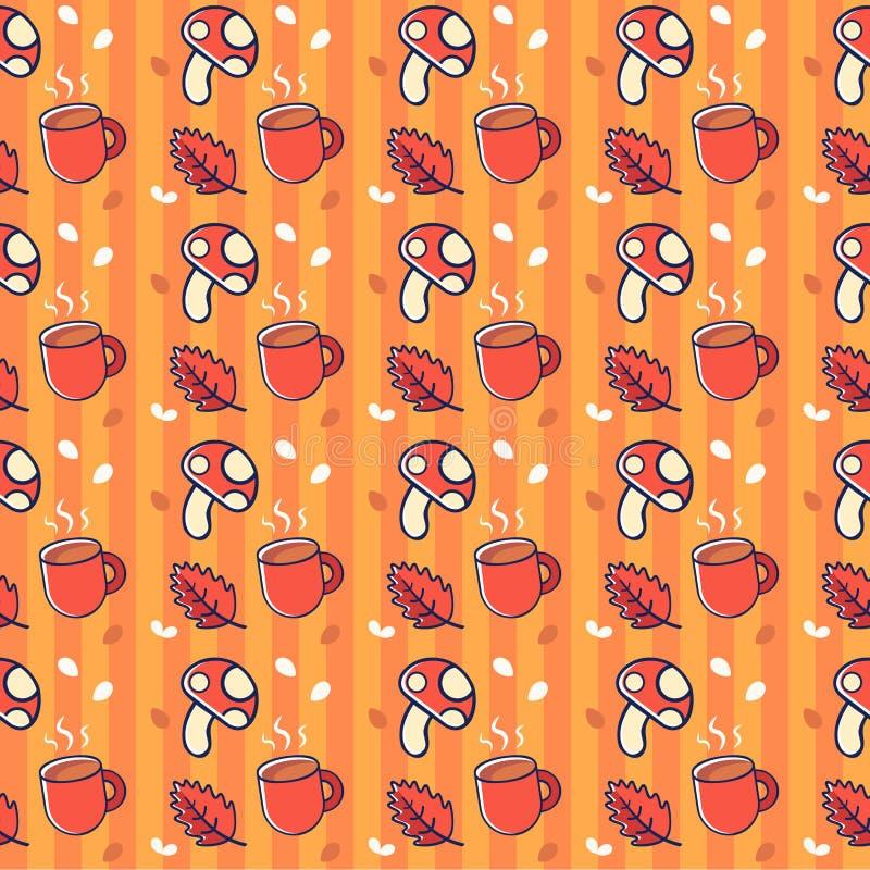 Śliczny jesień wzór z filiżanka kawy, pieczarkami i liśćmi, royalty ilustracja