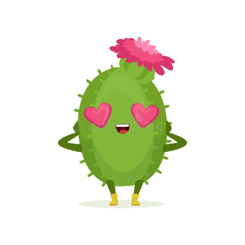 Śliczny kaktus w miłości z kierowymi kształtów oczami i menchie kwitniemy na swój kierowniczej, śmiesznej roślina charakteru kres ilustracja wektor