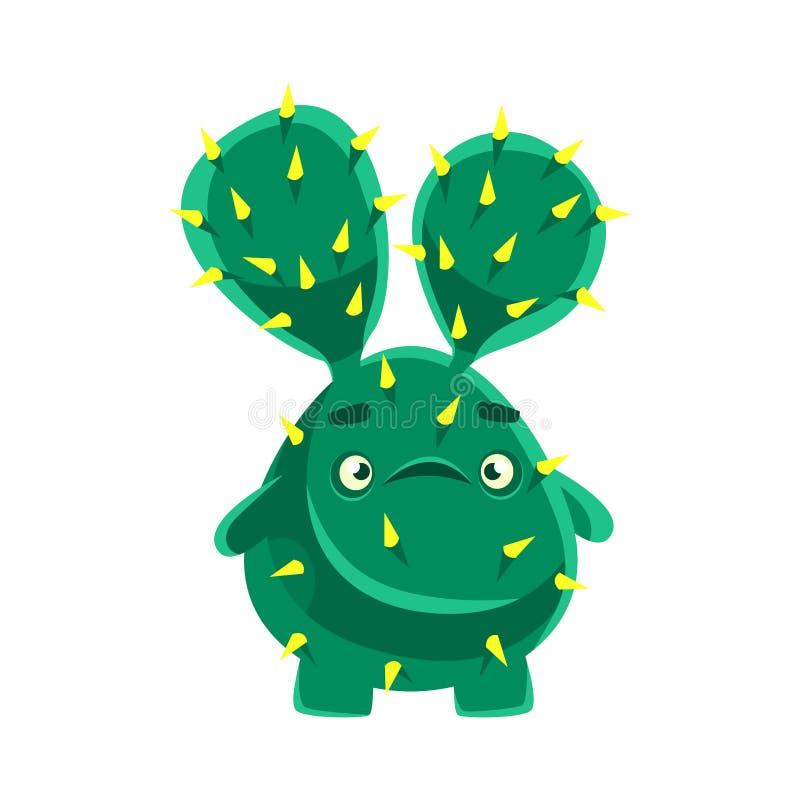 Śliczny kaktus z skołataną twarzą Kreskówek emocj charakteru wektoru ilustracja ilustracji