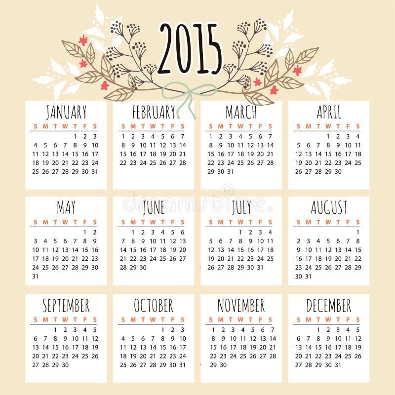 Śliczny kalendarz 2015 z kwiecistymi elementami, royalty ilustracja