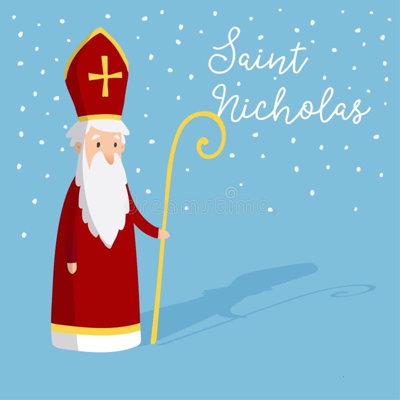 Śliczny kartka z pozdrowieniami z świętym Nicholas i pastoralny personel z infułą Europejska zimy tradycja Ręka rysujący projekt royalty ilustracja