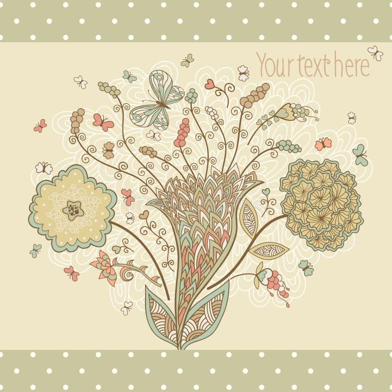 Śliczny kartka z pozdrowieniami z abstrakcjonistycznymi kwiatami ilustracja wektor