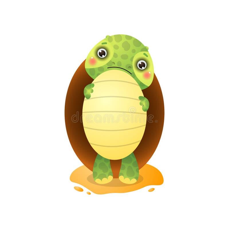 Śliczny kawai żółw trzyma dużego jajko w łapach odizolowywać na białym tle ilustracja wektor