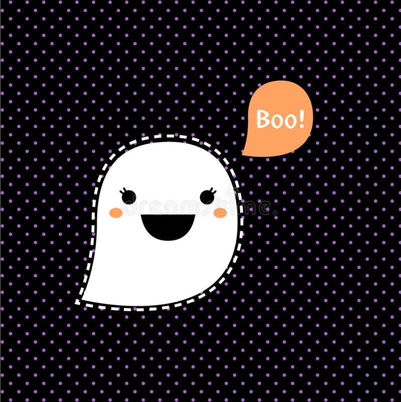 Śliczny Kawaii Halloween duch ilustracja wektor