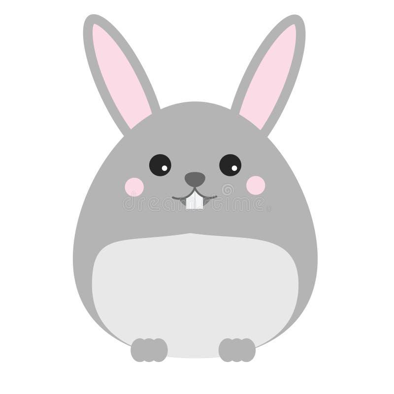 Śliczny kawaii królik, królik, zajęczy charakter Dzieci projektują, wektorowa ilustracja ilustracji