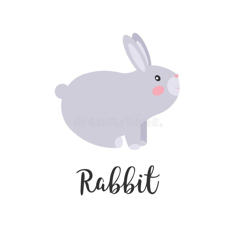 Śliczny kawaii królik, królik, zajęczy charakter Dzieci projektują, wektorowa ilustracja Majcher, projekta element dla dzieciak k ilustracji