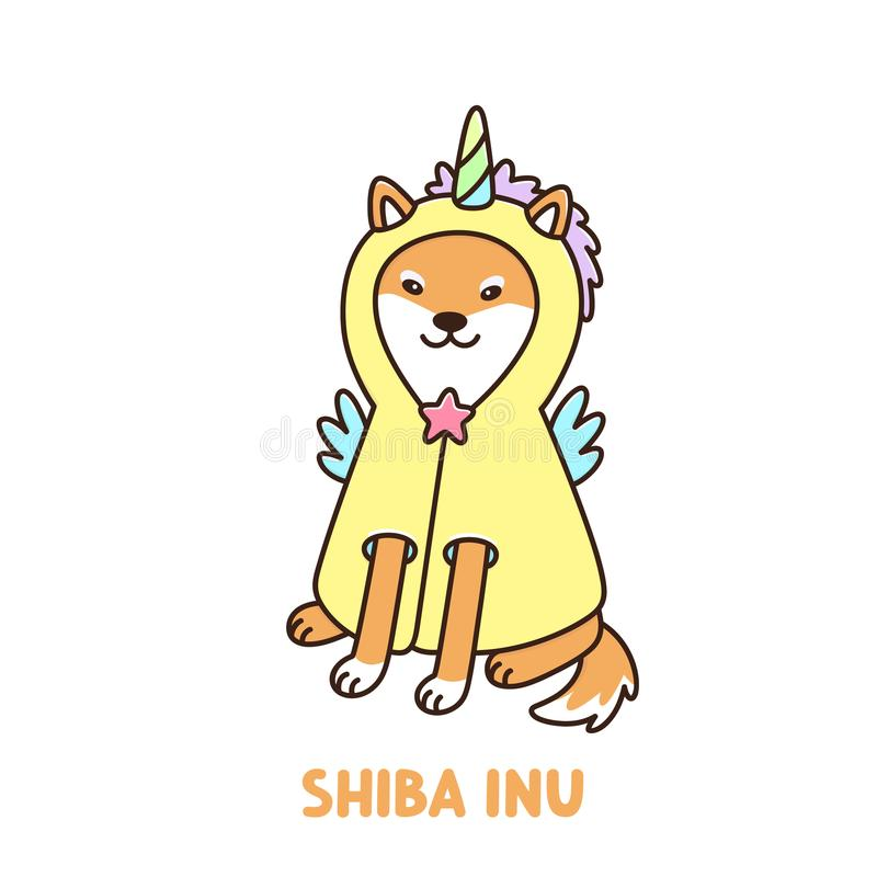Śliczny kawaii pies shiba inu traken w jednorożec deszczowu lub kostiumu ilustracja wektor
