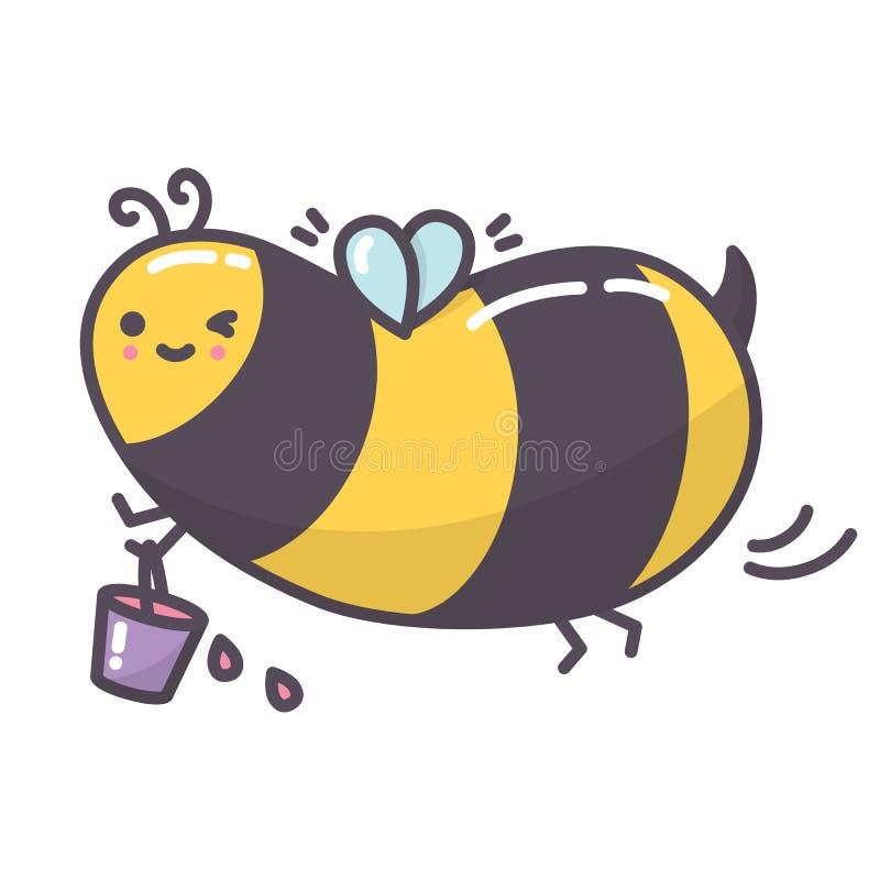 Śliczny kawaii pszczoły latanie z wiadrem pełno nektar royalty ilustracja