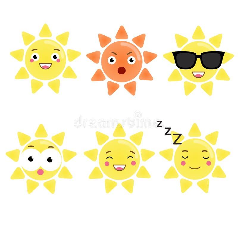 Śliczny kawaii słońca charakter Wektorowy emoji, emoticons, wyrażeniowe ikony Odosobneni projektów elementy, majchery ilustracji