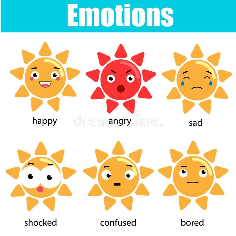 Śliczny kawaii słońca charakter Wektorowy emoji, emoticons, wyrażeniowe ikony Odosobneni projektów elementy, majchery Edukacyjny  royalty ilustracja