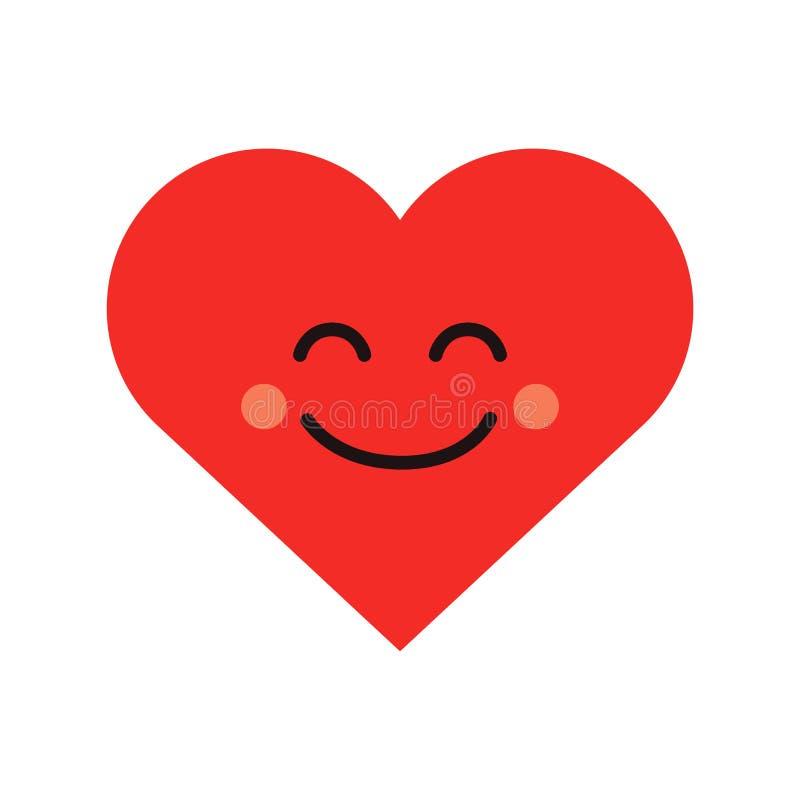Śliczny kierowy emoji Uśmiechnięta twarzy ikona royalty ilustracja