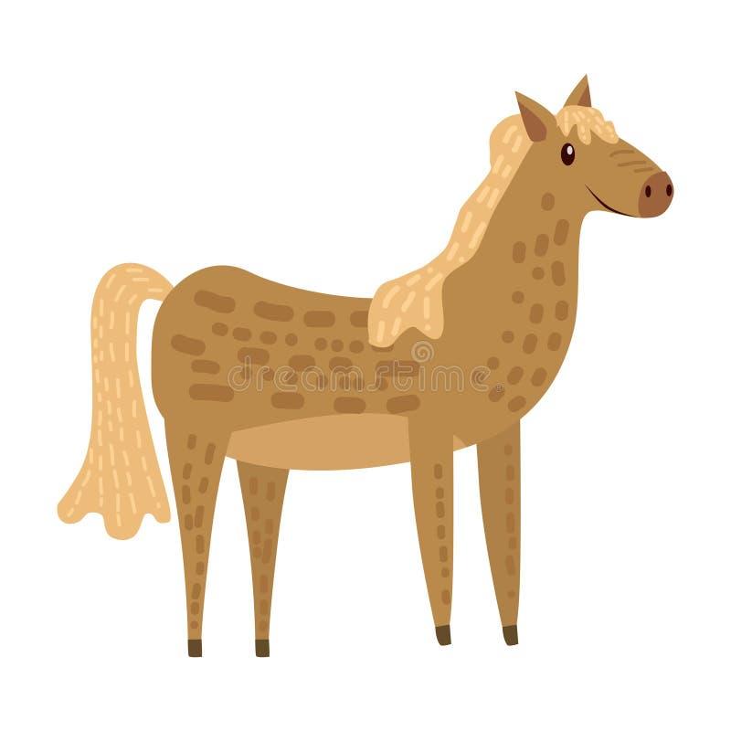 Śliczny koń, zwierzę, trend, kreskówka styl, wektor, ilustracja, odizolowywająca na białym tle ilustracja wektor