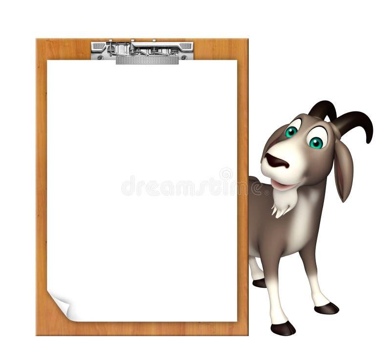 Śliczny Koźli postać z kreskówki z egzaminu ochraniaczem ilustracji