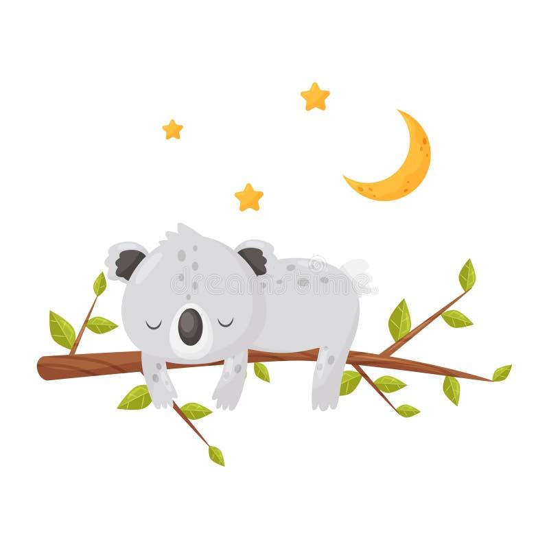 Śliczny koala niedźwiedź śpi na gałąź pod gwiaździstym niebem, urocza zwierzęca postać z kreskówki, dobranoc projekta element ilustracji