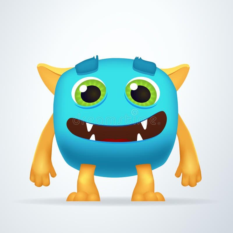 Śliczny kolorowy błękitny potwór z niemądrym uśmiechem i życzliwymi oczami Zabawa yeti istota odizolowywająca na białym tle ilustracji
