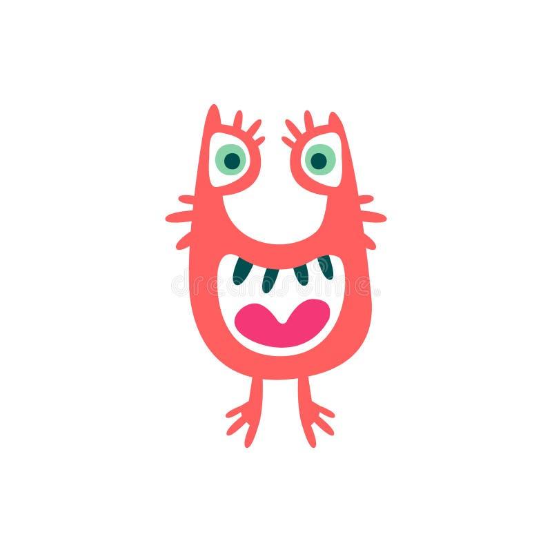 Śliczny kolorowy kreskówka potwór, bajecznie nieprawdopodobna istota, śmieszna obca wektorowa ilustracja ilustracja wektor