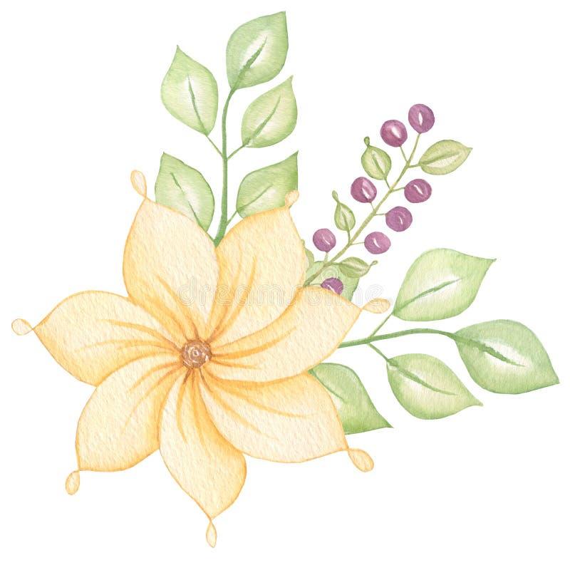 Śliczny Kolorowy kwiecisty botaniczny bukiet z liśćmi i kwiatami, jagody akwarela Wiosna i lato projekt dla zaproszenia, royalty ilustracja