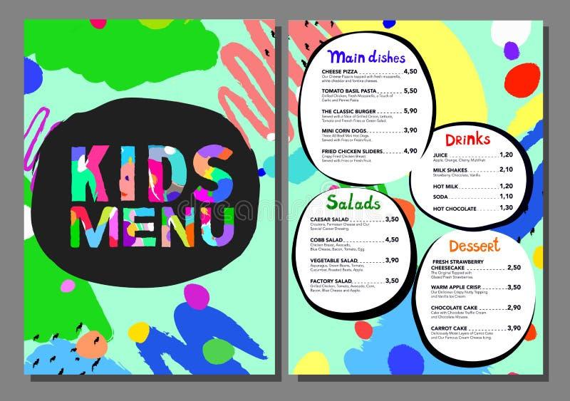 Śliczny kolorowy posiłek żartuje menu szablon royalty ilustracja