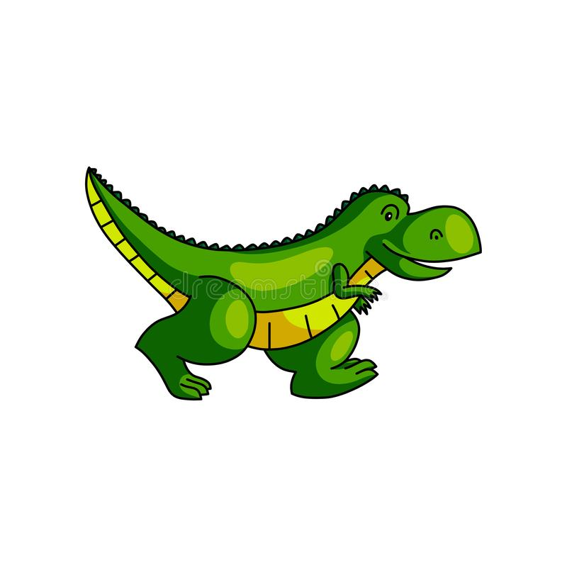 Śliczny kolorowy zielonego dinosaura bieg zdala od zoo ilustracja wektor