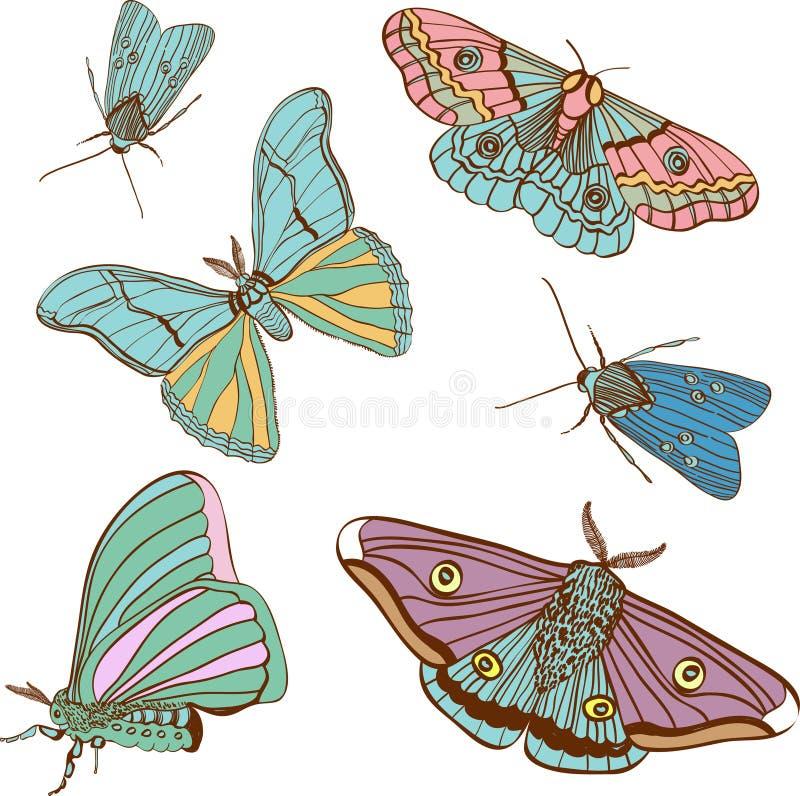 śliczny koloru ćma ustawia dwa royalty ilustracja