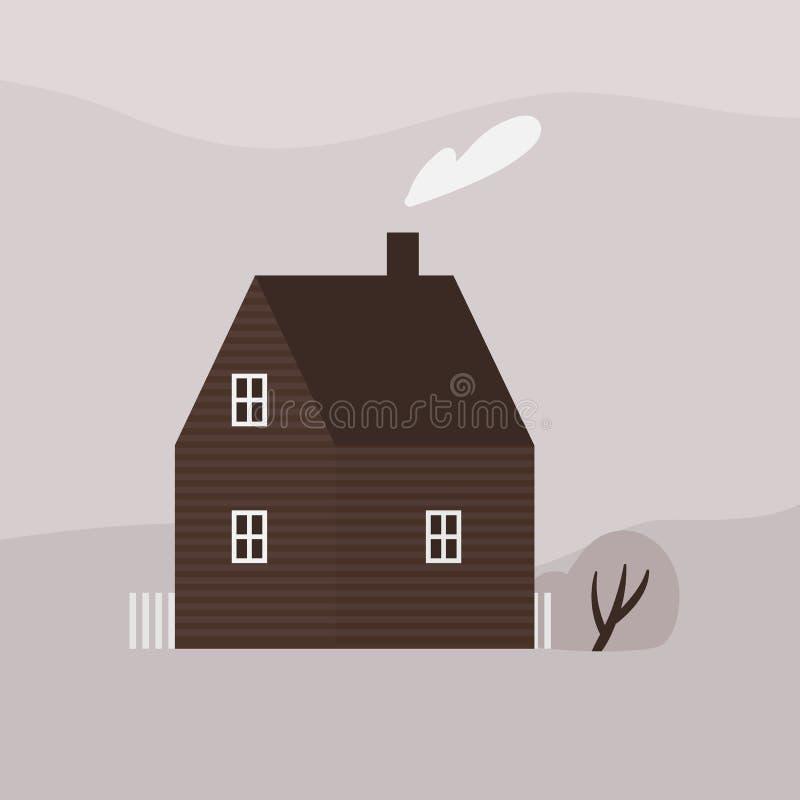 ?liczny kondygnacji utrzymania dom lub cha?upa nowo?ytna podtrzymywalna architektura Fasada drewniany ekologiczny podmiejski Scan ilustracja wektor