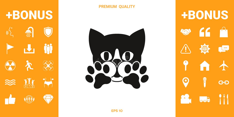 Śliczny kot, łapy - logo, symbol, gacenie znak royalty ilustracja