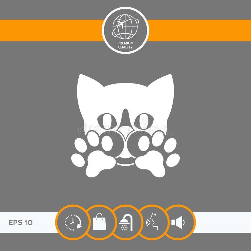 Śliczny kot, łapy - logo, symbol, gacenie znak ilustracja wektor