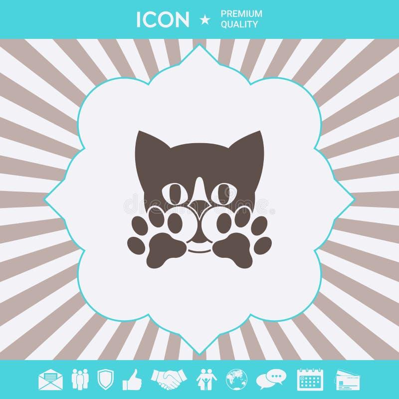Śliczny kot, łapy - logo, symbol, gacenie znak ilustracji