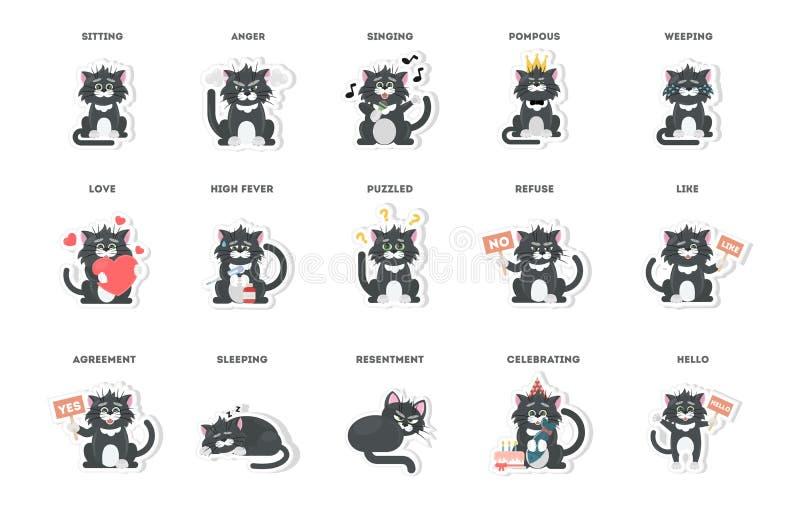 Śliczny kot, majchery inkasowi w różnych pozach, różni nastroje ilustracji