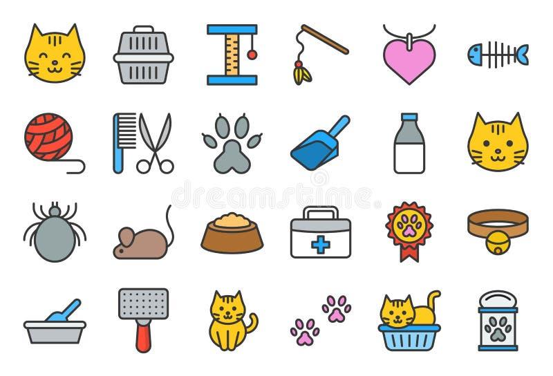 Śliczny kot odnosić sie ikona tak jak kot ściółki pudełko i zabawka, editable s ilustracja wektor