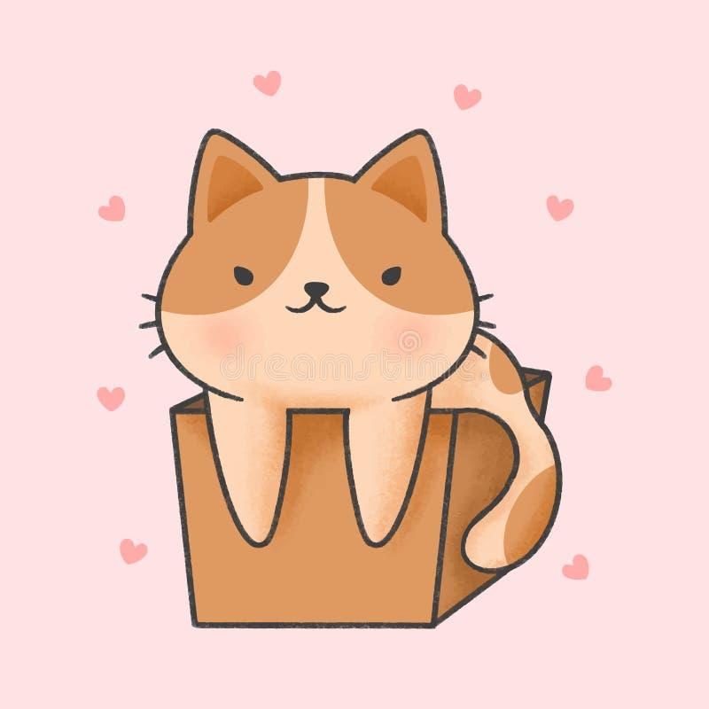 Śliczny kot w pudełkowata ręka rysującym kreskówka stylu royalty ilustracja