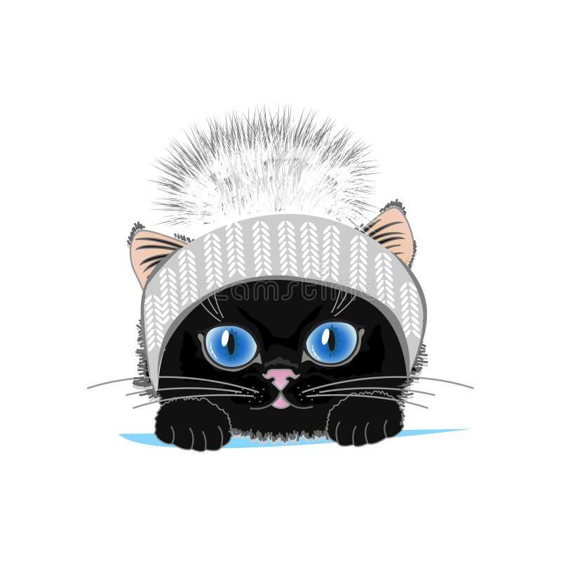 Śliczny kot w zima kapeluszu z dymienicą ilustracja wektor