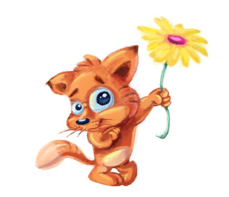 śliczny kota kwiat royalty ilustracja