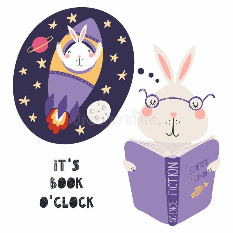 Śliczny królik czyta książkę ilustracja wektor