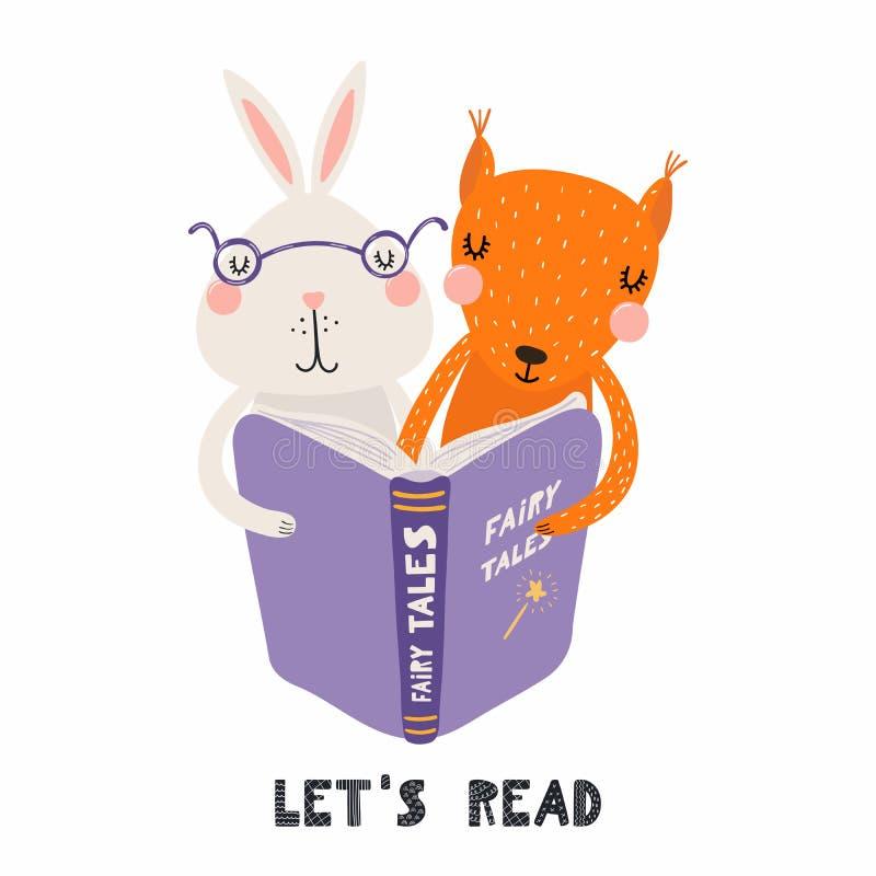 Śliczny królik i wiewiórka czyta książkę royalty ilustracja