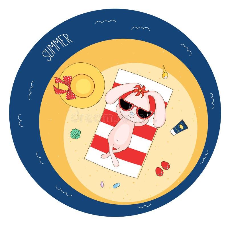 Śliczny królik na plaży ilustracji