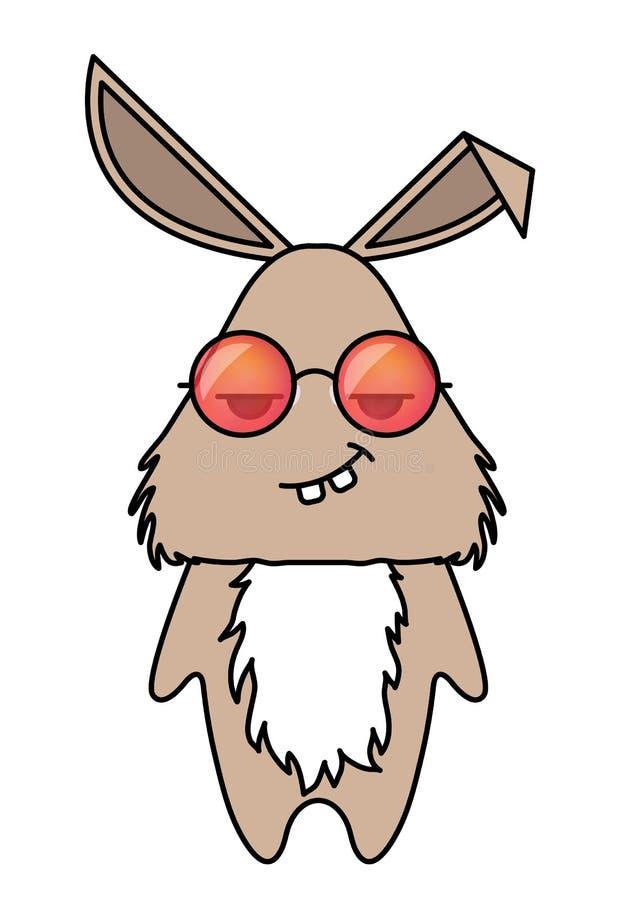 Śliczny królik w modnisiów okularach przeciwsłonecznych Zwierzęcy kreskówka wektoru illustrtation royalty ilustracja